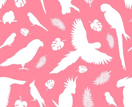 Vector seamless pattern of white parrots silhouette isolated on pink background