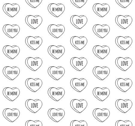 Vector seamless pattern of black outline hand drawn doodle sketch valentine candy hearts with love text isolated on white background