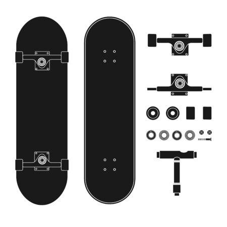 Vector flat black outline skateboard parts set isolated on white background Ilustração