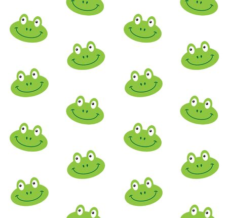 Vector seamless pattern of flat cartoon frog face isolated on white background