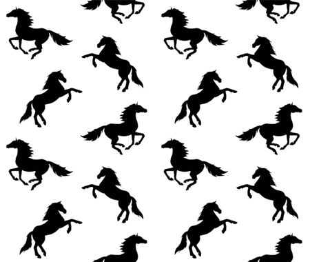 Vector seamless equestrian pattern of black different running horse silhouette isolated on white background Иллюстрация