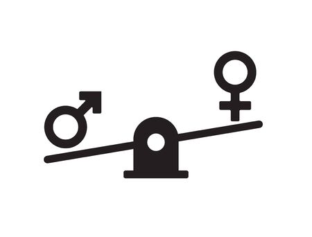 Vector flat black gender equality concept. Man and woman symbols balancing on scales isolated on white background Иллюстрация