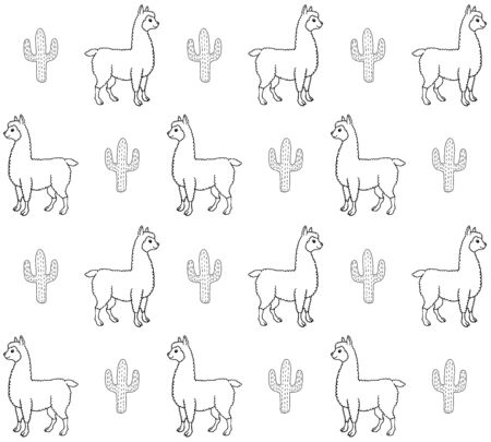 Vector seamless pattern of hand drawn doodle sketch llama alpaca and cactus isolated on white background Иллюстрация