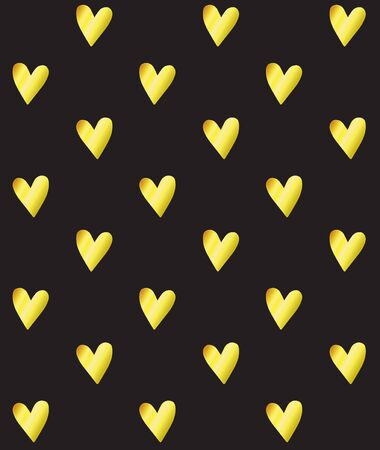 Vector seamless pattern of golden glitter hearts isolated on black background