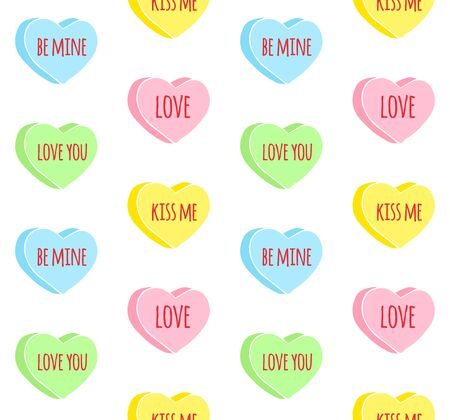 Vector seamless pattern of colored hand drawn doodle sketch valentine candy hearts with love text isolated on white background