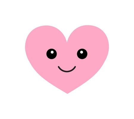 Vector flat cartoon kawaii pink heart with face isolated on white background