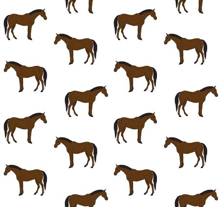 Vector seamless pattern of hand drawn doodle sketch bay brown horse isolated on white background Иллюстрация