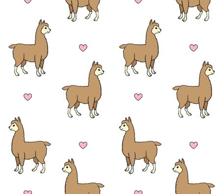 Vector seamless pattern of colored hand drawn doodle sketch llama alpaca and hearts isolated on white background Иллюстрация