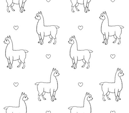 Vector seamless pattern of hand drawn doodle sketch llama alpaca and hearts isolated on white background Иллюстрация