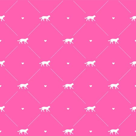 Vector seamless pattern of white cat silhouette and hearts isolated on pink background