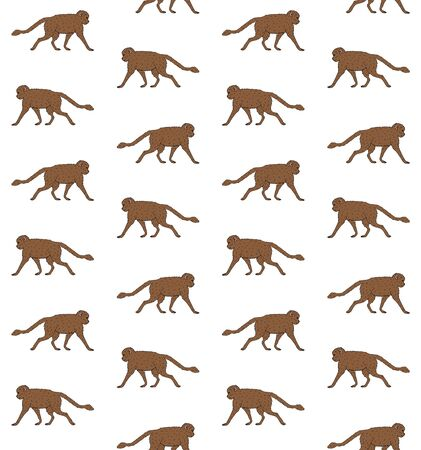 Vector seamless pattern of brown hand drawn doodle sketch monkey isolated on white background