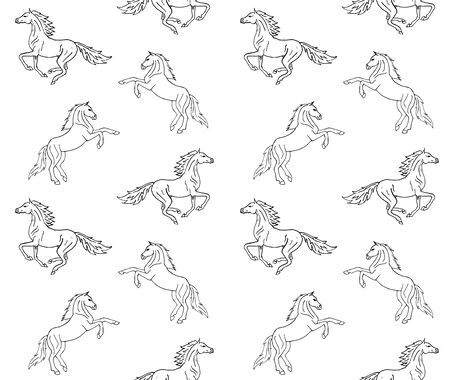 Vector seamless equestrian pattern of hand drawn doodle sketch running horse isolated on white background