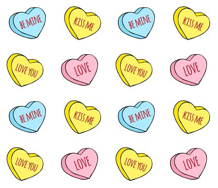 Vector seamless pattern of hand drawn doodle sketch valentine candy hearts with love text isolated on white background