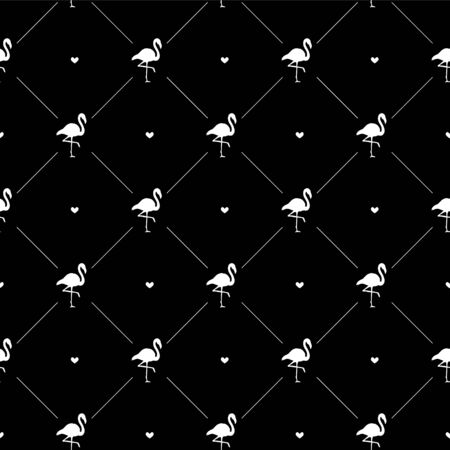Vector seamless pattern of white flamingo silhouette and hearts isolated on black background