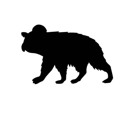 Vector black koala silhouette isolated on white background