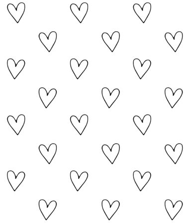 Vector seamless pattern of black outline hand drawn doodle sketch hearts isolated on white background