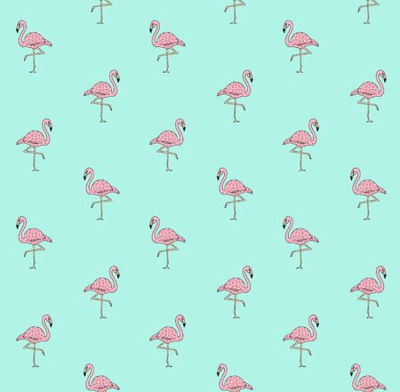 Vector seamless pattern of hand drawn doodle sketch pink flamingo isolated on mint background