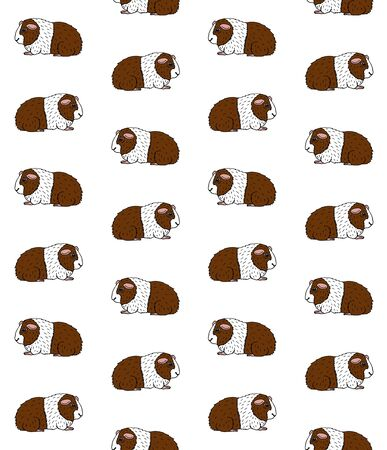Vector seamless pattern of hand drawn doodle sketch colored Guinea pig isolated on white background Иллюстрация
