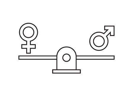 Vector flat outline gender equality concept. Man and woman symbols balancing on scales isolated on white background Иллюстрация