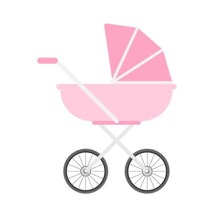 Vector flat cartoon pink baby pram isolated on white background