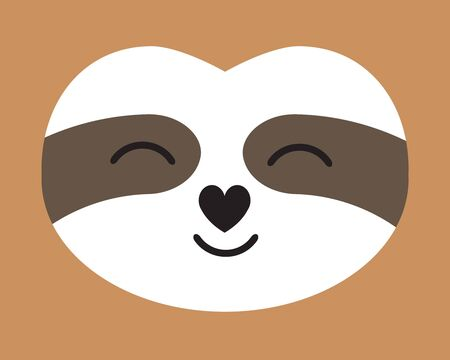 Vector flat cartoon kawaii sloth face portrait isolated on brown background Иллюстрация