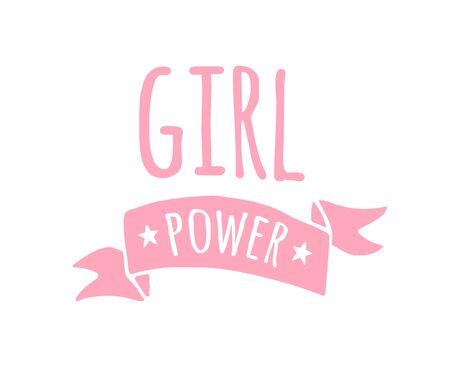 Vector hand drawn doodle illustration in simple style with phrase girl power. feminism quote and women motivational slogan pink print isolated on white background