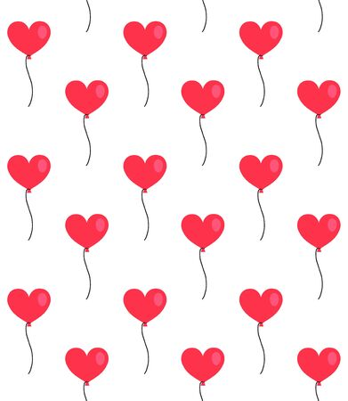 Vector seamless pattern of flat cartoon heart shaped red air balloon isolated on white background