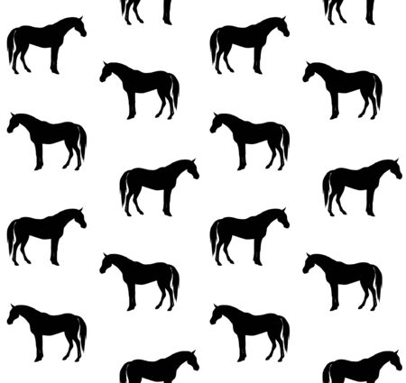 Vector seamless pattern of black horse silhouette isolated on white background