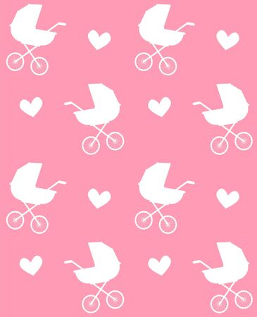 Vector seamless pattern of flat cartoon white baby pram silhouette and hearts isolated on pink background