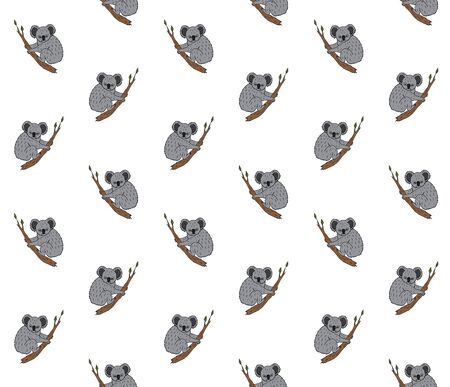 Vector seamless pattern of hand drawn doodle sketch colored koala isolated on white background Иллюстрация