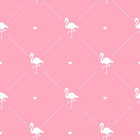 Vector seamless pattern of white flamingo silhouette and hearts isolated on pink background