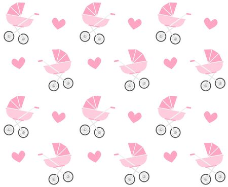 Vector seamless pattern of flat cartoon pink baby pram and hearts isolated on white background