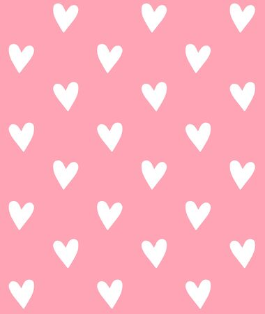 Vector seamless pattern of white hand drawn doodle sketch hearts isolated on pastel pink background Иллюстрация