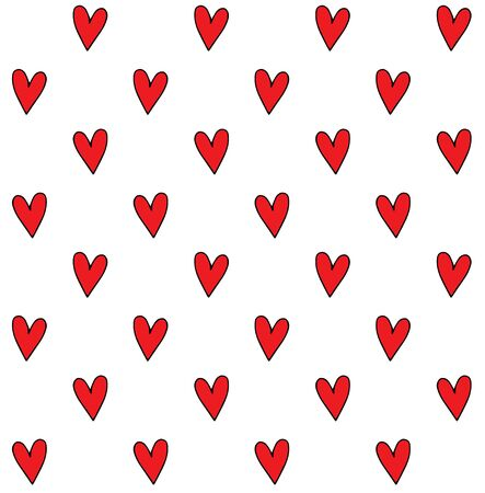 Vector seamless pattern of hand drawn doodle sketch red hearts isolated on white background Иллюстрация