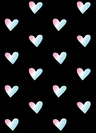Vector seamless pattern of holographic hearts isolated on black background