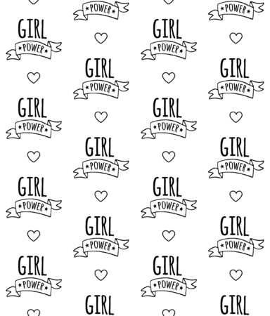 Vector seamless pattern of hand drawn doodle sketch girl power lettering sign isolated on white background Иллюстрация
