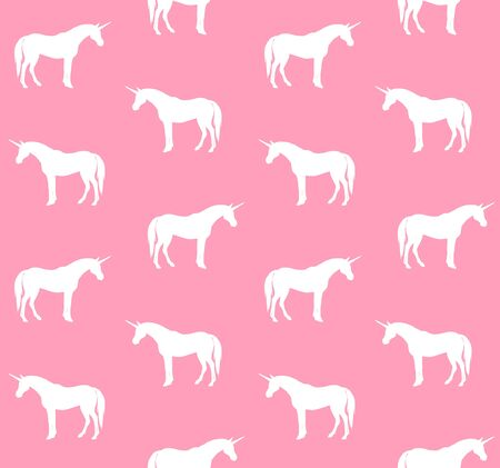 Vector seamless pattern of hand drawn doodle sketch unicorn isolated on white background Иллюстрация