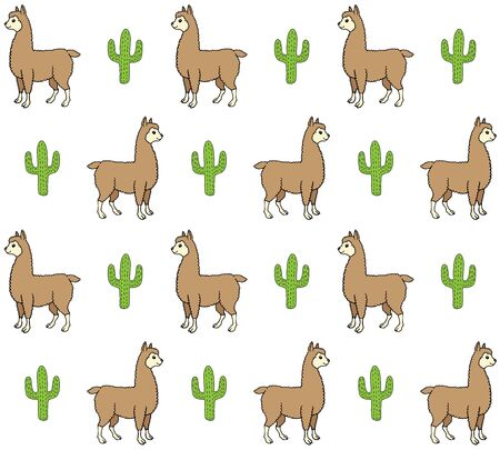 Vector seamless pattern of colored hand drawn doodle sketch llama alpaca and cactus isolated on white background Иллюстрация