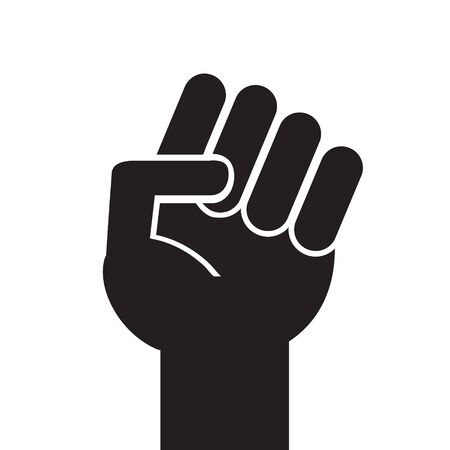 Vector flat black fist hand icon isolated on white background