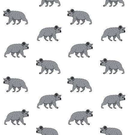 Patrón transparente de vector de boceto de doodle dibujado a mano color caminando koala aislado sobre fondo blanco