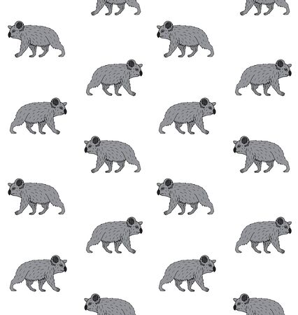 Vector seamless pattern of hand drawn doodle sketch colored walking koala isolated on white background