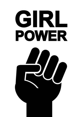 Vector flat black girl power quote with female fist. Feminist slogan illustration isolated on white background Çizim