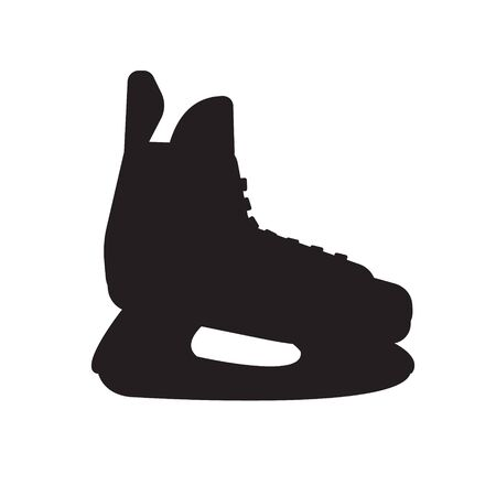Vector flat black hockey ice skate silhouette isolated on white background 일러스트