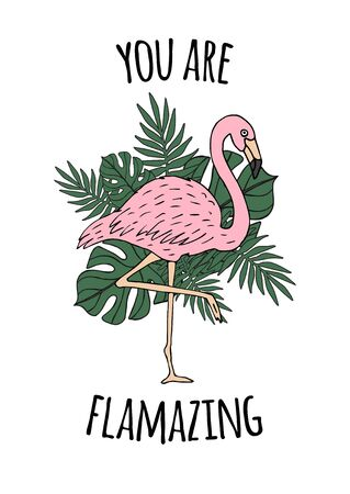 Vector Inspirational quote and hand drawn doodle sketch flamingo and palm leaves drawing isolated on white background. You are amazing lettering illustration design 向量圖像