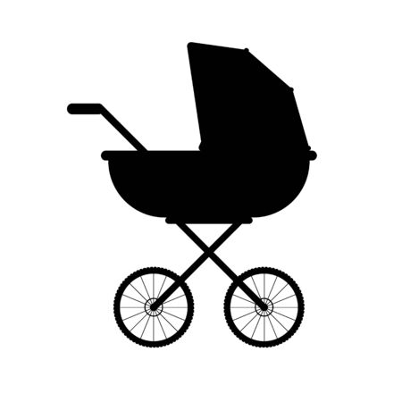Vector black baby pram silhouette isolated on white background Stock Illustratie