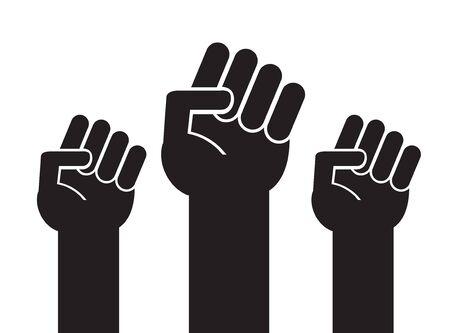 Vector black flat illustration of three fists isolated on white background Çizim