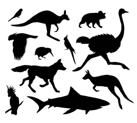 Vector set bundle of black Australian wild animals silhouette isolated on white background