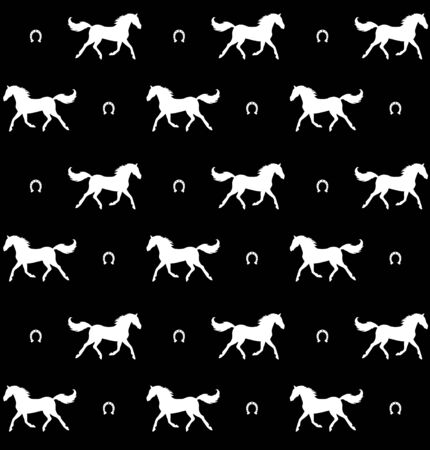 Vector seamless pattern of white horse and horseshoe silhouette isolated on black background