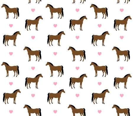 equestrian seamless pattern of flat cartoon bay horse and hearts isolated on white background