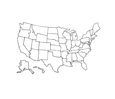 Vector hand drawn doodle sketch USA states political map isolated on white background Ilustracja